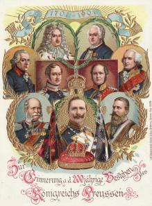 Η αυτοκρατορική οικογ�νεια των Hohenzollern, �δωσε για 200 χρόνια τους Κάιζερ της Πρωσσίας. Στην κάτω σειρά αριστερά βρίσκεται ο Γουλι�λμος ο πρώτος, ο επονομαζόμενος μ�γας. Ήταν ο πατ�ρας του Φρειδερίκου του τρίτου και παπούς του Γουλι�λμου του δευτ�ρου. Τιμής �νεκεν δόθηκε το όνομα του, Kaiser Wilhelm der Grosse, στο πλοίο που κατασκεύασε η Nordduetscher Lloyd το 1897.