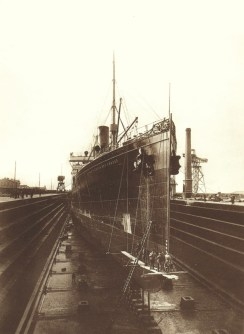 The S/S Kaiser Wilhelm der Grosse, was the flagship of Norddeutscher Lloyd; during construction at the Vulcan Stettin shipyard. She was one of the two ships commissioned by NDL, the other being the S/S Kaiser Friedrich. Designed to compete successfully with Cunard Line in the northern Atlantic Ocean. By placing the ship in the Bremen - New York line, she immediately won the Blue Ribband speed trophy away from Cunard. The S/S Kaiser Wilhelm der Grosse was the first ship sunk (26.8.1914), immediately after the start of World War I, in the north-west coast of Africa, near Rio de Oro in Western Sahara. (Arnold Kludas Collection)