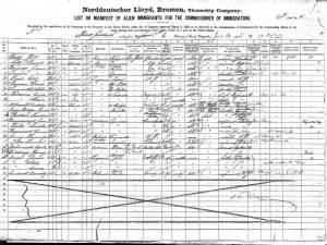Λίστα επιβατών του S/S Kaiser Friedrich, της 16ης Ιουνίου 1898 (πρώτο υπερατλαντικό ταξίδι του πλοίου), προορισμ�νη για τον ύπατο αρμοστή της μεταναστευτικής υπηρεσίας των Η.Π.Α.. Οι καταχωρήσεις δείχνουν �να μωσαϊκό εθνοτήτων της Ευρώπης. Ανάμεσα τους πρωτοστατούν οι Ούγγροι, οι Αυστριακοί, οι Ουκρανοί, οι Γερμανοί και οι Ρώσοι.