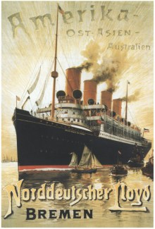 An NDL poster advertising the steam line in America, Australia and the Far East. The ship pictured is the S/S Kaiser Wilhelm der Grosse, the sister ship of S/S Kaiser Friedrich. (KFB Collection)
