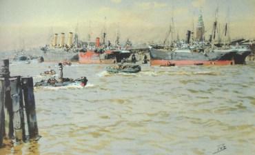 Το S/S Kaiser Friedrich (με τα τρία φουγάρα) στο λιμάνι του Αμβούργου το 1901, ζωγραφισμ�νο από τον Karl Paul Themistokles von Eckenbrecher. Στα δεξιά διακρίνεται το σήμα κατατεθ�ν του Αμβούργου, η εκκλησία του Αγίου Μιχαήλ.