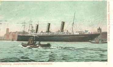 Το S/S Kaiser Friedrich στο λιμάνι του Αμβούργου, στην περιοχή Strandhafen, το 1906. (KFΒ Collection)